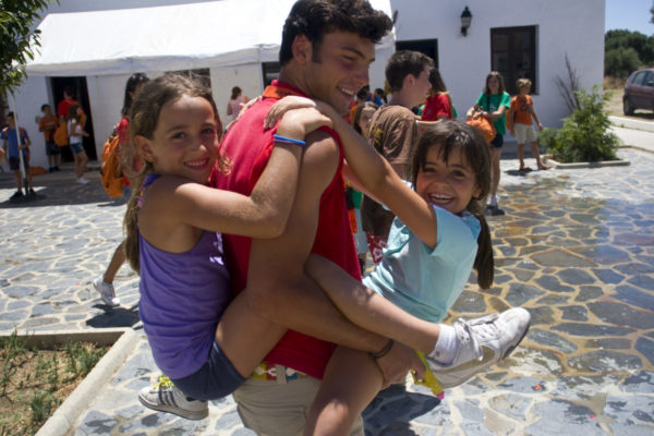 (Alcala de los Gazuelos, Spain - July 7, 2011) - Go campers have lunch then go to a special activity on the environment. The evening entertainment was Cluedo.Photo by Will Nunnally / TECS