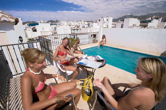 "Spain-Malaga-   Pool of the ""Escuela de Idiomas Nerja"" at Nerja."