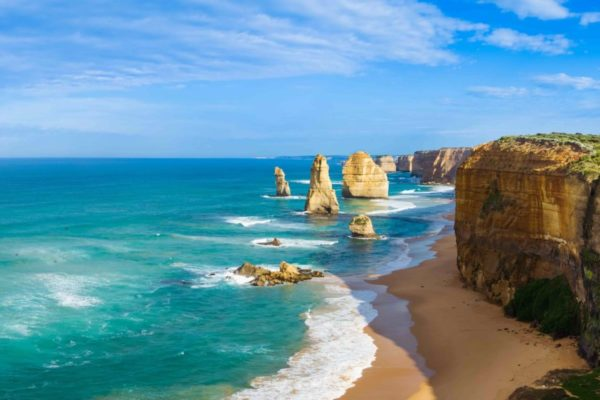 Panoramic image of the landmark Twelve Apostles along the Great Ocean Road in Victoria Australia