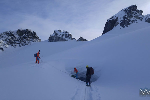 ski guide training in action